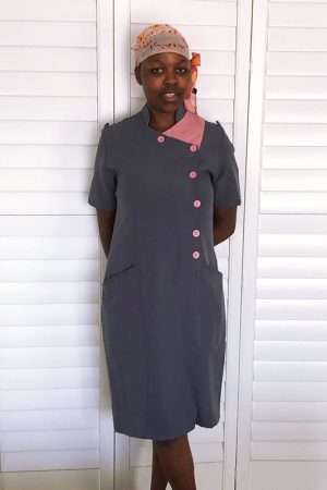 Della_Domestic Worker Uniforms_double breasted dress – grey & pink 2